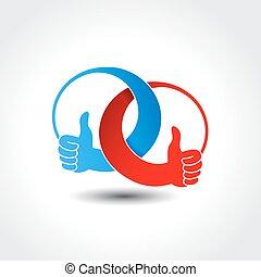 arredondado, mão, unidade, vetorial, melhor, ícone, símbolo,...
