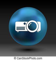 arredondado, projetor, símbolo, vetorial, quadrados, botão, ícone