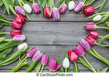 arreglado, de madera, tulipanes, marco, plano de fondo, fresco, viejo
