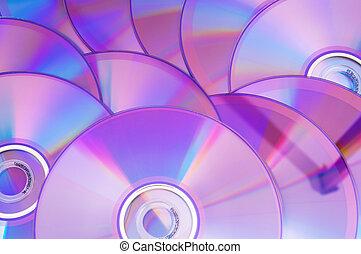 arreglado, plano de fondo, muchos, dvd's, blanco