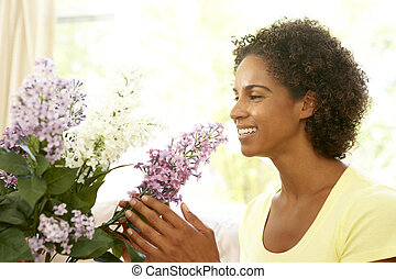 arreglar, hogar, mujer, flor