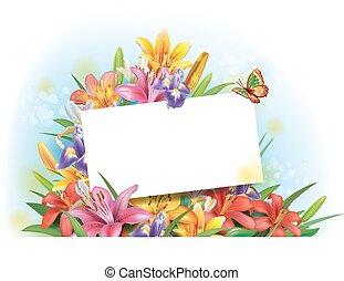 arreglo, de, flores, con, vacío, tarjeta de felicitación,...