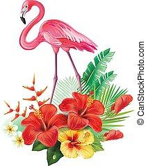 arreglo, de, flores tropicales, y, flamencos