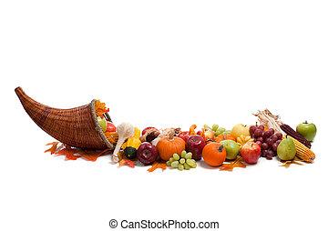 arreglo, de, otoño, frutas y vehículos