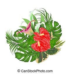 arreglo floral, ramo, con, flores tropicales, lirios, palma, y, ficus, vector.eps