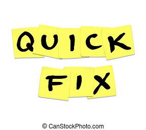arreglo rápido, palabras, en, notas pegajosas, -, reparación, solución, respuesta