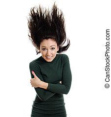 arremessar, isolado, ar., cabelo, verde, longo, modelo, vestido, white.