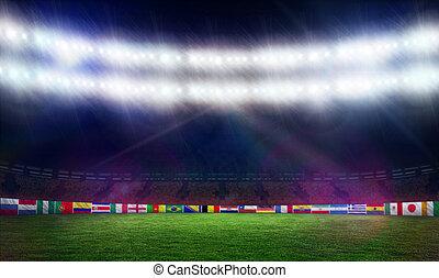 arremesso futebol, com, campeonato do mundo, bandeiras