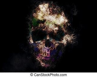 arrepiado, cranio, ilustration