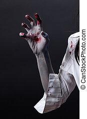arrepiado, sangrento, zombie, mão