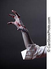 arrepiado, zombie, mão, extremo, body-art
