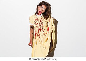 arrepiado, zombie, mulher, com, um, machado