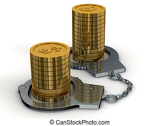 Arrest of money. Isolated 3D image