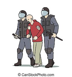 Arrest - This is the illustration of protester arrest