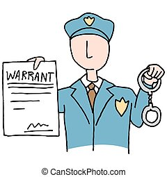 Arrest Warrant - An image of a police officer holding a...