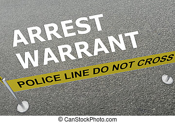 3D illustration of 'ARREST WARRANT' title on the ground in a police arena