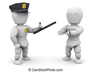 Arrested - 3D render of a policeman with a criminal