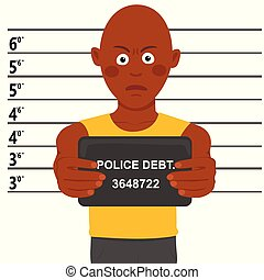 Arrested african american man posing for mugshot holding...