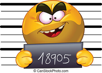 Arrested emoticon with measuring scale in back holding his...