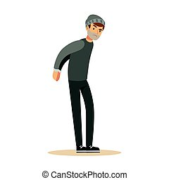 Arrested man in handcuffs with hands behind back. Colorful cartoon character vector Illustration