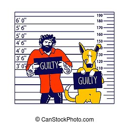 Arrested Man with Dog Characters Getting Front View Mug Shot in Police Station Holding Placard with Guilty Inscription Stand at Height Chart Background. Linear People and Animal Vector Illustration