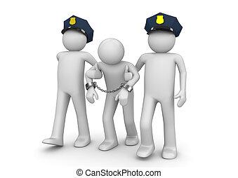 arresteerde, balling, -, wettelijk, verzameling