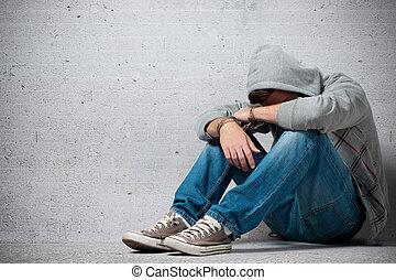 arresterat, tonåring, med, handklovar