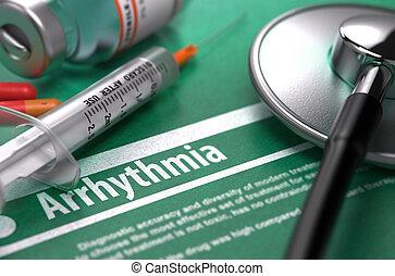 arrhythmia., háttér., orvosi fogalom, zöld