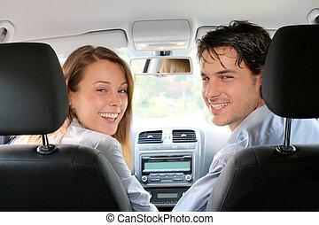 arrière affichage, de, couple, conduite, voiture