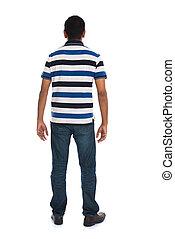 arrière affichage, de, jeune, désinvolte, homme, isolé, blanc, fond