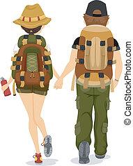 arrière affichage, de, randonnée couple