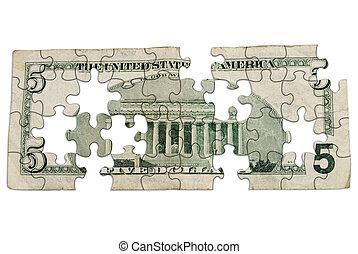 arrière, cinq, note, dollar, porté