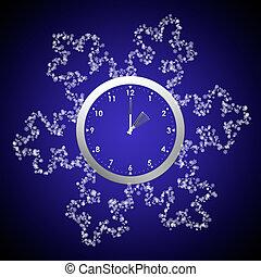 arrière, clocks, winter., horloge, temps, économies, dos, lumière du jour, snowflakes.
