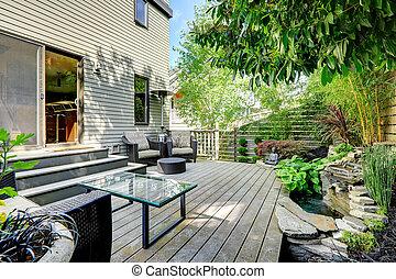 arrière-cour, beautifully, conçu, patio, secteur
