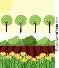 arrière-cour, fleurs, arbres, jardin, barrière