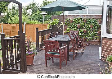 arrière-cour, jardin, patio, anglaise