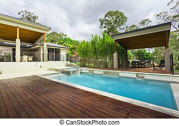 arrière-cour, moderne, piscine