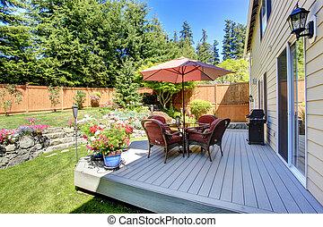 arrière-cour, patio, paysage, secteur