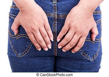 arrière, femme, tenue, main