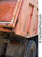 arrière, orange, décharge, truck., vue.