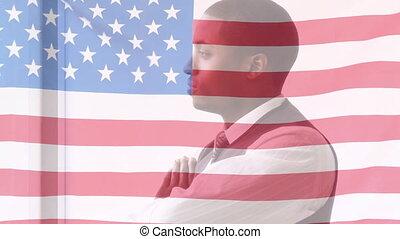 arrière-plan animation, africaine, sur, homme affaires, onduler drapeau, américain