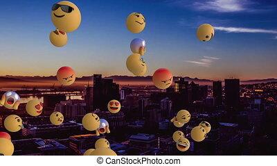 arrière-plan animation, emojis, ville