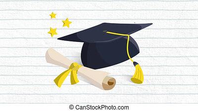 arrière-plan animation, remise de diplomes, chapeau bleu, ...