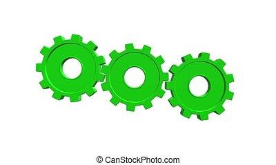 arrière-plan., animation, vert, gears., alpha, blanc, canal, 3d