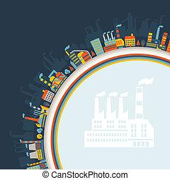 arrière-plan., bâtiments, industriel, usine