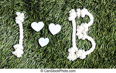 arrière-plan., b, amour, herbe verte