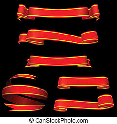 arrière-plan., bannières, noir, isolé, rouges