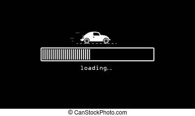 arrière-plan., barre, en mouvement, unique, blanc, voiture, loading., bar., noir, chargement