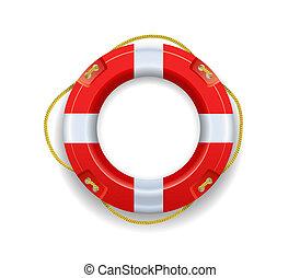 arrière-plan., bateau, blanc, lifebuoy