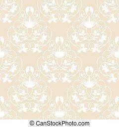arrière-plan beige, seamless, vecteur, damassé, délicat, tourbillon, élégant